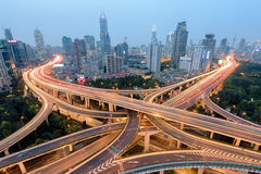 Shanghai Highway and Road Junction at Night. Royalty Free Stock Photos