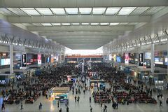 Shanghai Hongqiao Railway Station Waiting inquiry. Shanghai-Nanjing High-speed Railway started operating on July 1st 2010. Travel time between the two cities is Stock Images
