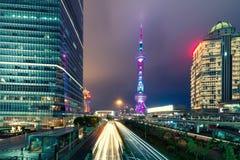 Shanghai horisontcityscape, sikt av shanghai på Lujiazui finans royaltyfria foton
