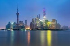 Shanghai horisontcityscape, sikt av shanghai på Lujiazui finans arkivbild