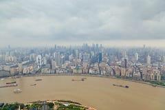 Shanghai horisontpanoramautsikt, Shanghai Kina, Shanghai horisontpanoramautsikt, Shanghai Kina royaltyfria foton