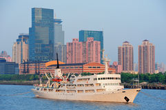 Shanghai Huangpu River with boat Stock Images