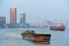Shanghai Huangpu River with boat Royalty Free Stock Photos