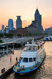 Shanghai Huangpu River with boat Royalty Free Stock Image