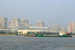 Shanghai Huangpu River with boat Royalty Free Stock Photo