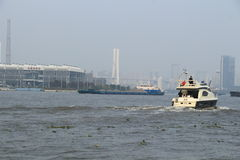 Shanghai Huangpu River with boat Royalty Free Stock Images