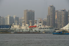 Shanghai Huangpu River with boat Stock Image