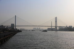Shanghai  Huangpu River and Nanpu Bridge Stock Image