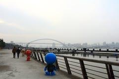 Shanghai Huangpu River under fog and haze Royalty Free Stock Image