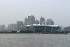 Shanghai Huangpu River under fog and haze Royalty Free Stock Photo