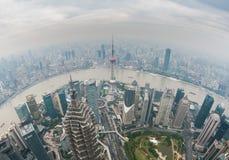 Shanghai i dagen, fisheyesikt Royaltyfri Foto