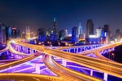 Shanghai  interchange overpass at night. City interchange overpass at night with purple light show in shanghai Stock Photo