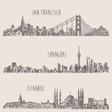 Shanghai Istanbul San Francisco city sketch. Shanghai Istanbul San Francisco big city architecture vintage engraved illustration hand drawn sketch vector illustration