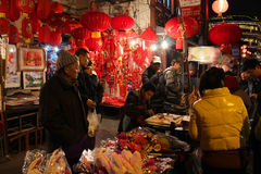 SHANGHAI - JANUARY 01: night street full of people in Old Chinatown Royalty Free Stock Image