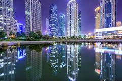Shanghai Kina finansiell områdesCityscape Arkivfoto
