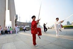 Shanghai kvinna Tai Chi Arkivfoto