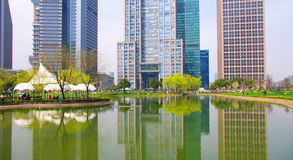 Shanghai lakes and construction Stock Photos