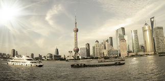 Shanghai landmar skyline Royalty Free Stock Photos