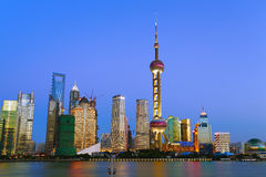 Shanghai landmark at New skyline Stock Photos