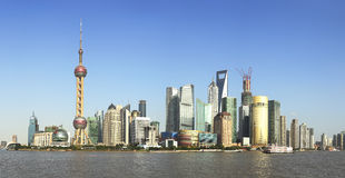 Shanghai landmark skyline Stock Photography