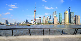 Shanghai landmark skyline. Photo of modern buildings by Huangpu river at Pudong Lujiazui landmark skyline Shanghai, China Stock Photo