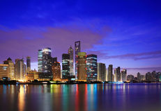 Shanghai landmark skyline at dawn Royalty Free Stock Photography