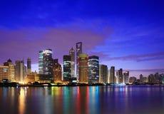 Shanghai landmark skyline at dawn. City landscape Royalty Free Stock Photography