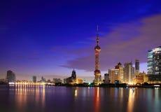 Shanghai landmark skyline at dawn. City landscape Royalty Free Stock Photos