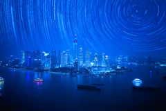 Shanghai landmark with startrails Royalty Free Stock Image