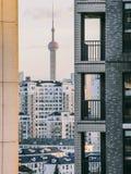 Shanghai landskap, det orientaliska pärlemorfärg TVtornet Royaltyfria Foton