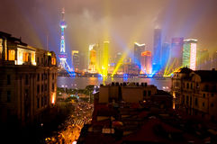 Shanghai Lights on National Holiday. The Contrast of the Old Bund and very Modern Pudong on a Rainy National Holiday royalty free stock photo