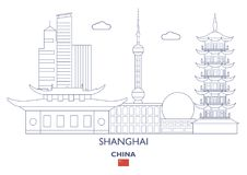 Shanghai City Skyline, China. Shanghai Linear City Skyline, China stock illustration