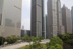 Shanghai Lujiazhui områdesskyskrapor Fotografering för Bildbyråer