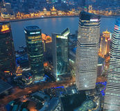Shanghai lujiazui business center at night Stock Photography