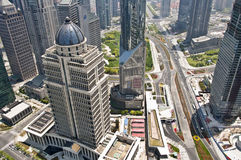 Shanghai Lujiazui business district, aerial view Royalty Free Stock Image