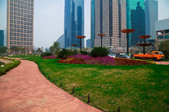 Shanghai Lujiazui at city park buildings backgrounds streetscape Royalty Free Stock Image