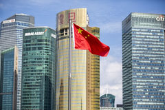 Shanghai Lujiazui civic landscape of China national flags Royalty Free Stock Photo