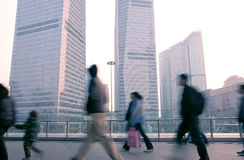 Shanghai of the lujiazui financial center. Pedestrian walked in Shanghai Pudong Lujiazui Financial Center Plaza royalty free stock image