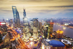 Shanghai lujiazui financial center aside Stock Images