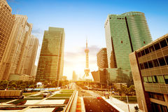 Shanghai Lujiazui Financial Center skyscraper stock photo