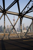 Shanghai lujiazui and iron bridge Stock Photography