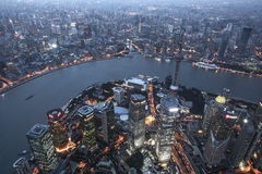 Shanghai Lujiazui natt Royaltyfria Foton