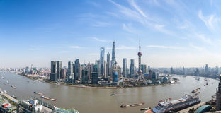 Shanghai lujiazui panoramic view and the huangpu river Stock Photography