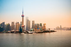 Shanghai lujiazui skyline at dusk Royalty Free Stock Photo