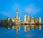 Shanghai lujiazui skyline night at bund. Shanghai bund lujiazui skyline of night Royalty Free Stock Photography