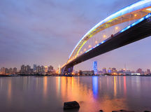Shanghai lupu bridge across the huangpu river Royalty Free Stock Image