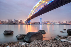 Shanghai lupu bridge in nightfall Royalty Free Stock Photography