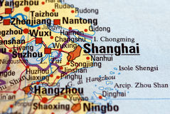 Shanghai on the map. A map focused on Shanghai  city. The Shanghai  letters are in focus, while the rest is slightly blurred Royalty Free Stock Photography