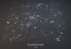 Shanghai map, satellite view, China. Shanghai map, satellite view, section 3d, China royalty free illustration