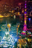 SHANGHAI-MAY 24日2015年 在夜间的东方珍珠塔  免版税库存照片
